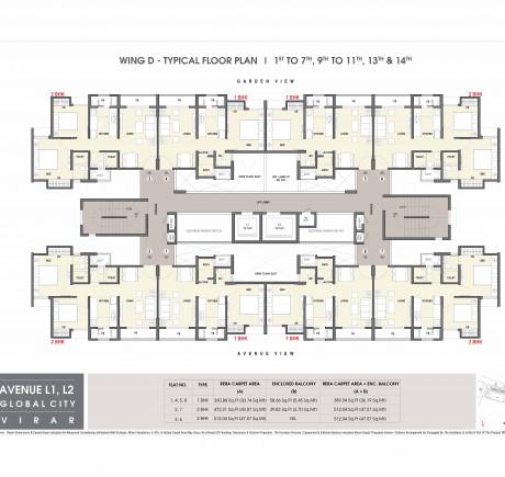 Avenue L1 - D Wing floor plan