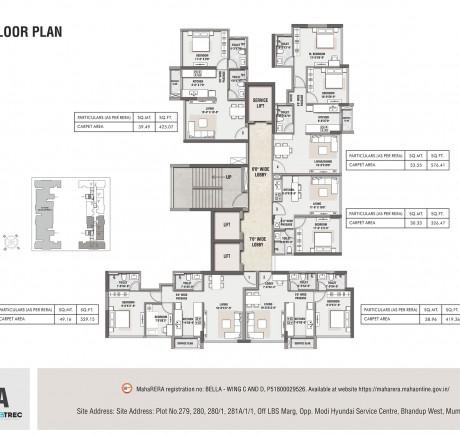 Rustomjee Bella - Wing C - Typical Floor Plan