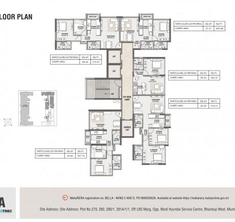 Rustomjee Bella - Wing D - Typical Floor Plan