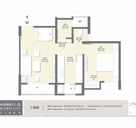 Avenue L1 Wing A 1BHK Unit Plan