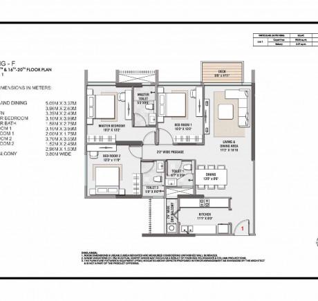Wing F 3BHK Unit 1 - 9th - 14th & 16th - 20th Floor