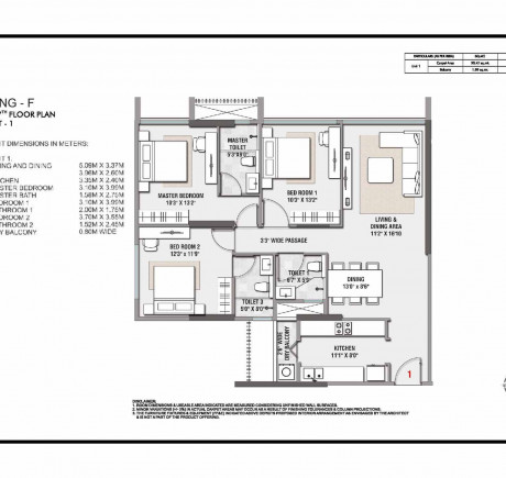 Wing F 3BHK Unit 1 - 6th - 7th Floor